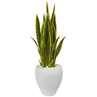 Nearly Natural 33-inch Sansevieria Artificial Plant in White Ceramic Planter