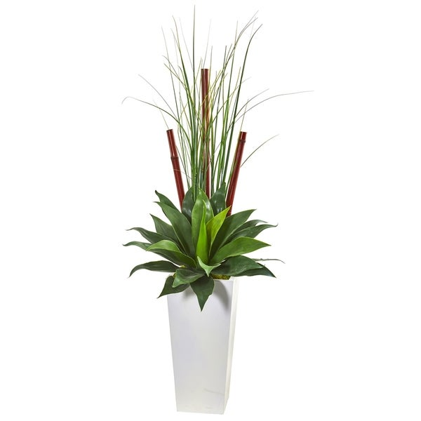 Nearly Natural 4.5-foot Giant Agave Succulent Artificial Plant in White Planter