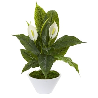Nearly Natural Artificial Spathifyllum Plant in White Vase