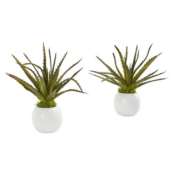"10"" Mini Aloe Succulent Artificial Plant in White Vase (Set of 2)"