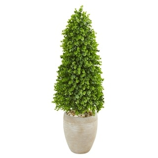 Nearly Natural 3.5-foot Eucalyptus Topiary Artificial Indoor/Outdoor Tree in Sand Colored Planter