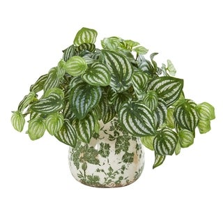 Nearly Natural Watermelon Peperomia Green/White Real Touch Artificial Plant in Vase