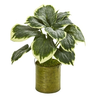Nearly Natural Green/Yellow/Brass Variegated Hosta Artificial Plant in Metal Planter