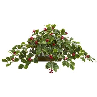 Nearly Natural 37-inch Real Touch Variegated Holly Leaf Artificial Plant in Planter