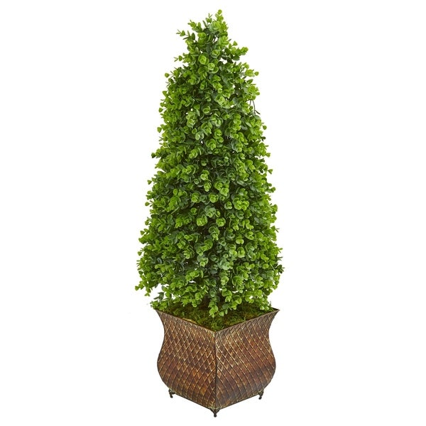 Nearly Natural 41-inch Indoor/Outdoor Eucalyptus Cone Topiary Artificial Tree in Metal Planter