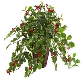 Nearly Natural Real Touch 18-inch Variegated Holly Artificial Plant in Decorative Planter