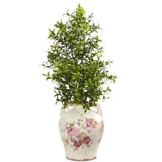 Nearly Natural 21-inch Boxwood Artificial Plant in Floral Jar