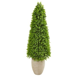 Nearly Natural Eucalyptus Green Topiary 52-inches High Indoor/Outdoor Artificial Tree in Sand-colored Ceramic Planter