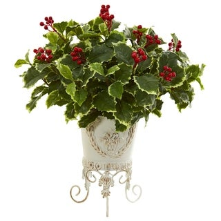 Nearly Natural Real Touch Artificial Variegated Holly Plant in Off White Planter