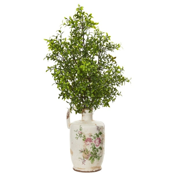 Nearly Natural 26-inch Boxwood Artificial Plant in Floral Print Vase