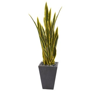 Nearly Natural 4.5-foot Sansevieria Artificial Plant in Slate Planter