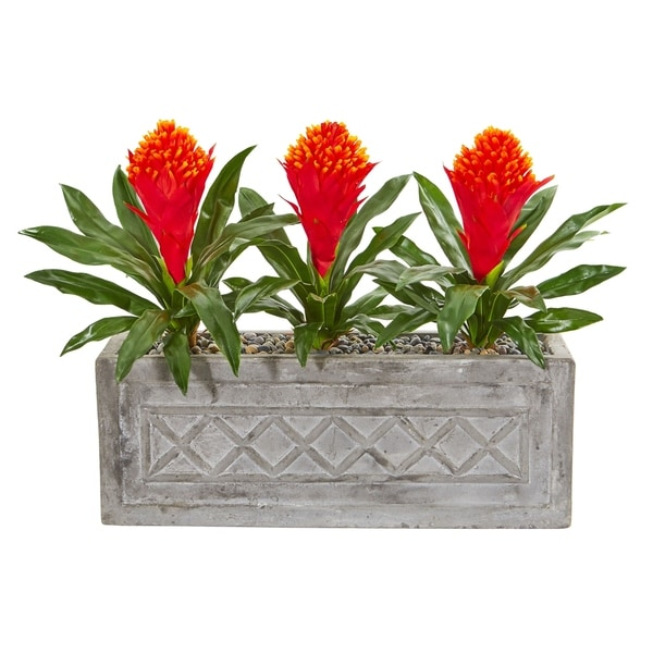 Nearly Natural Artificial Bromeliad Plant in Stone Planter