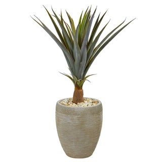 Nearly Natural 34-inch Agave Succulent Artificial Plant in Sandstone Planter