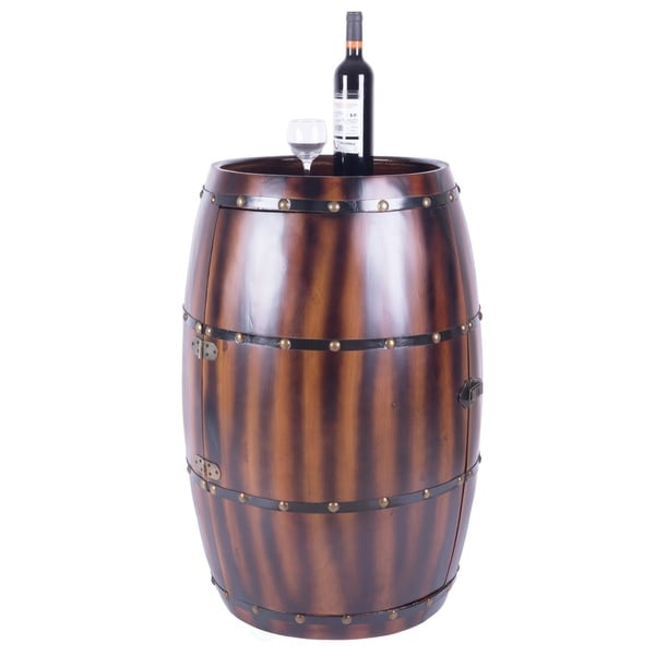 Wooden Wine Barrel Bar Cabinet End Table with Latch, 27 Bottle Holder