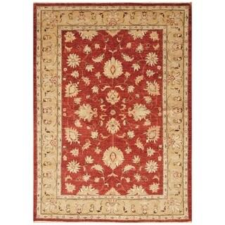 Handmade Vegetable Dye Oushak Wool Rug (Afghanistan) - 5'1 x 7'