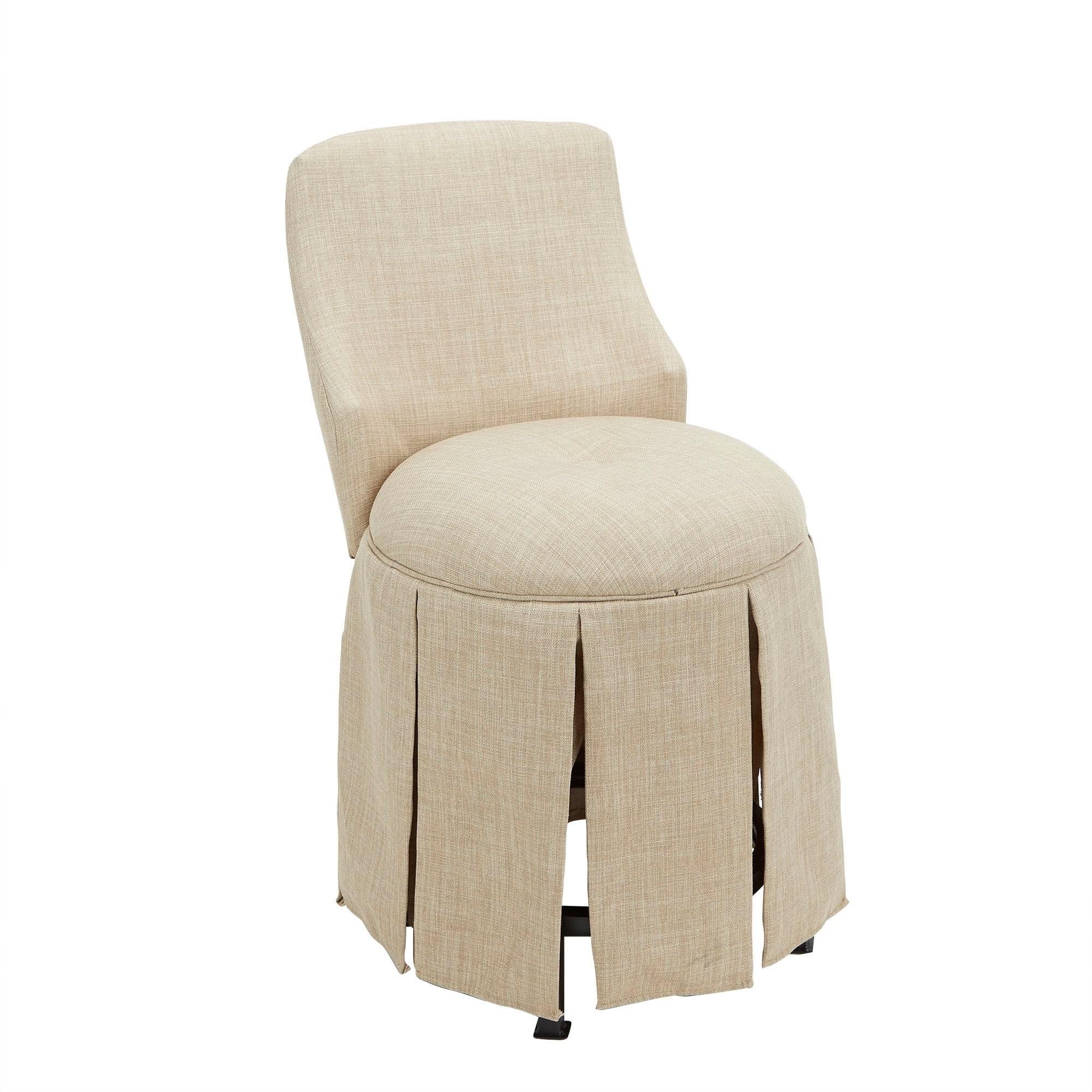 Sullivan Skirted Swivel Vanity Chair With Back Overstock 26040092