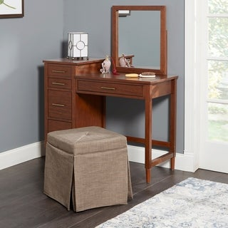 Sally Skirted Square Backless Vanity Seat