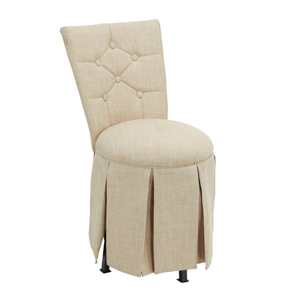 Shop Smith Skirted Swivel Vanity Chair With Diamond Tufted Back On