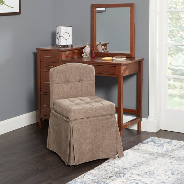 Shop Sally Skirted Camelback Vanity Chair With Tufted Cushions On