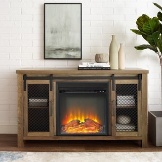 "48"" Mesh Sliding Door Fireplace TV Stand Console - 48 x 16 x 28h"