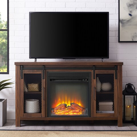 The Gray Barn Kujawa Mesh Sliding Door Fireplace TV Stand Console - 48 x 16 x 28h