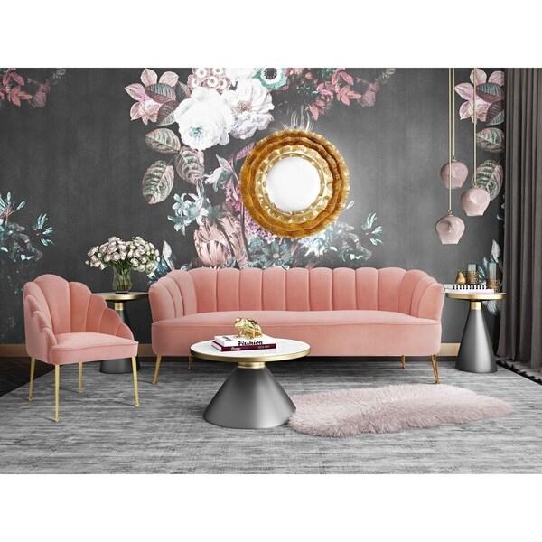 Daisy Petite Blush Velvet Sofa by Generic
