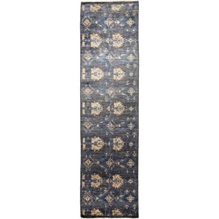 """Eclectic, Hand Knotted Area Rug -  3' 2"""" x 12' 1"""" - 3'2"""" x 12'1"""" Runner"""