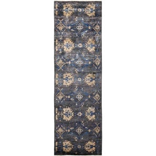 """Eclectic, Hand Knotted Area Rug -  3' 0"""" x 9' 9"""" - 3' x 9'9"""" Runner"""