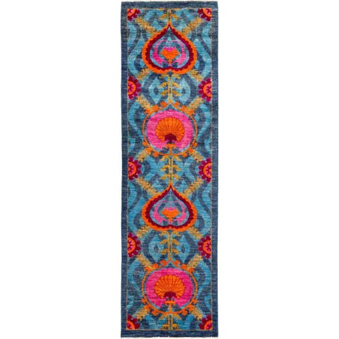 """Suzani, Hand Knotted Area Rug - 3' 0"""" x 10' 8"""" - 3' x 10'8"""" Runner/Surplus"""