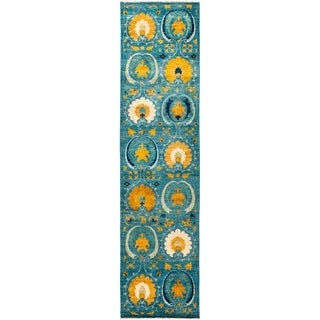 """Suzani, Hand Knotted Area Rug -  2' 8"""" x 10' 8"""" - 2'8"""" x 10'8"""" Runner"""