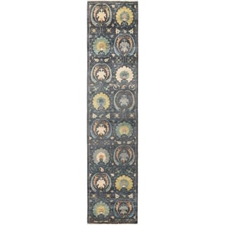 """Suzani, Hand Knotted Area Rug -  2' 8"""" x 12' 3"""" - 2'8"""" x 12'3"""" Runner"""