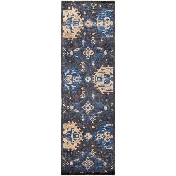 """Eclectic, Hand Knotted Area Rug - 3' 0"""" x 9' 10"""" - 3' x 9'10"""" Runner"""
