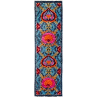 "Suzani, Hand Knotted Area Rug -  3' 0"" x 10' 7"" - 3' x 10'7"" Runner"
