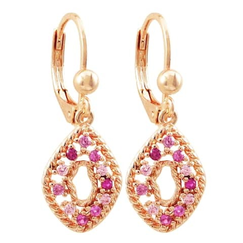 Luxiro Rose Gold Finish Lab-created Ruby Gemstones Open Oval Dangling Earrings
