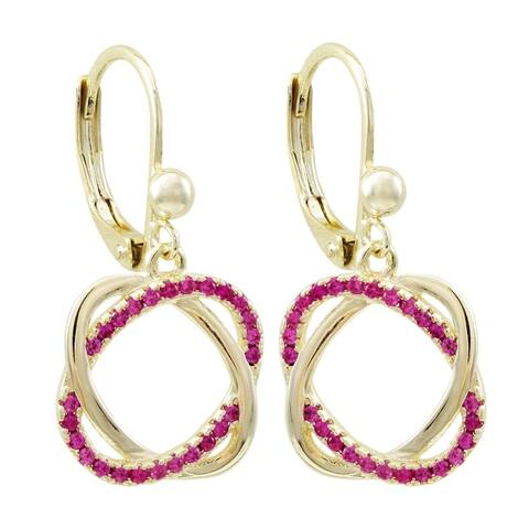 Luxiro Gold Finish Lab-created Ruby Double Open Oval Girl's Earrings