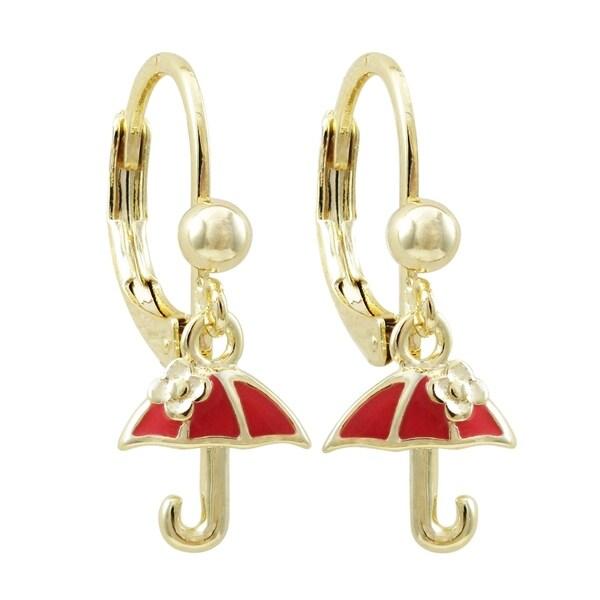 Luxiro Gold Finish Enamel Umbrella Girl's Dangling Charm Earrings