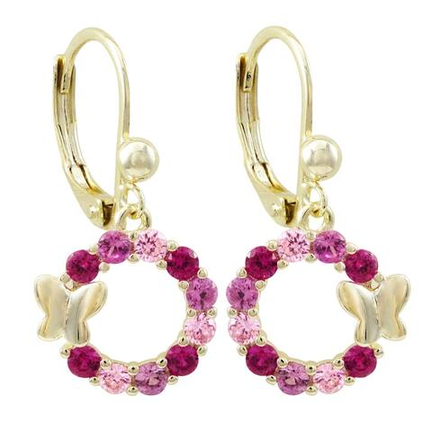 Luxiro Gold Finish Lab-created Ruby Open Circle Butterfly Girl's Earrings