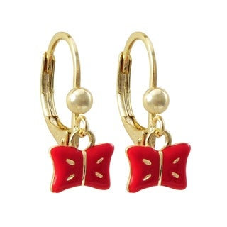 Link to Luxiro Gold Finish Red Enamel Dangling Bow Earrings Similar Items in Children's Jewelry