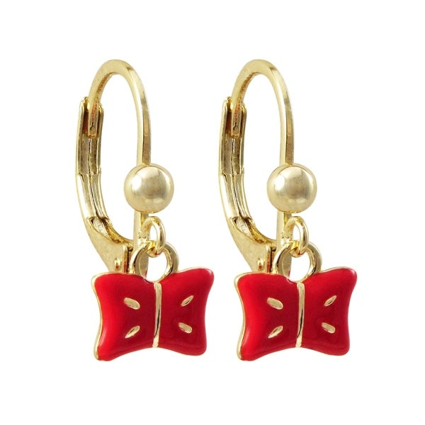 Luxiro Gold Finish Red Enamel Dangling Bow Earrings. Opens flyout.