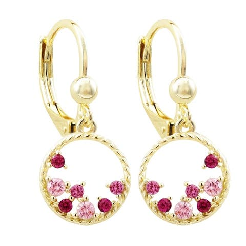 Luxiro Gold Finish Lab-created Ruby Gemstones Open Circle Girl's Earrings