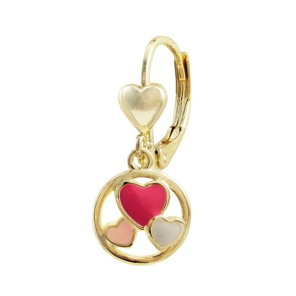 Mini Pink Enamel Butterfly Round Pendant Created CZ 14k Yellow Gold