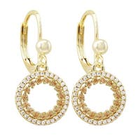 Luxiro Gold Finish Champagne Cubic Zirconia Open Circle Earrings
