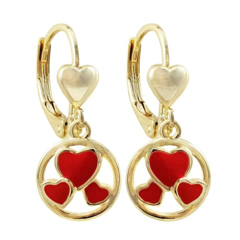 Luxiro Gold Finish Red Enamel Dangling Hearts Girl's Earrings