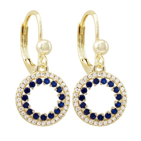 Luxiro Gold Finish Lab-created Gemstone with Cubic Zirconia Open Circle Earrings