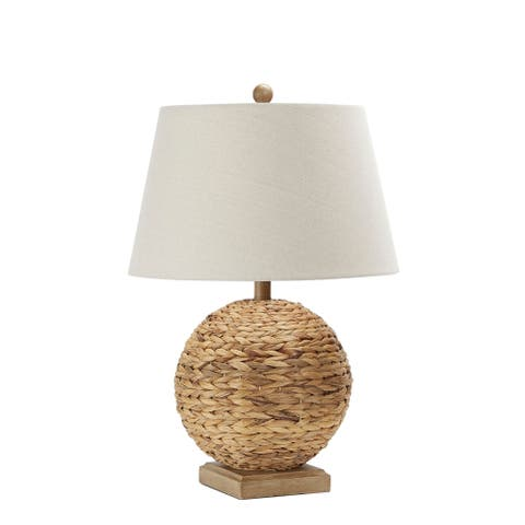 Reao Rattan Round Lamp with Square Base
