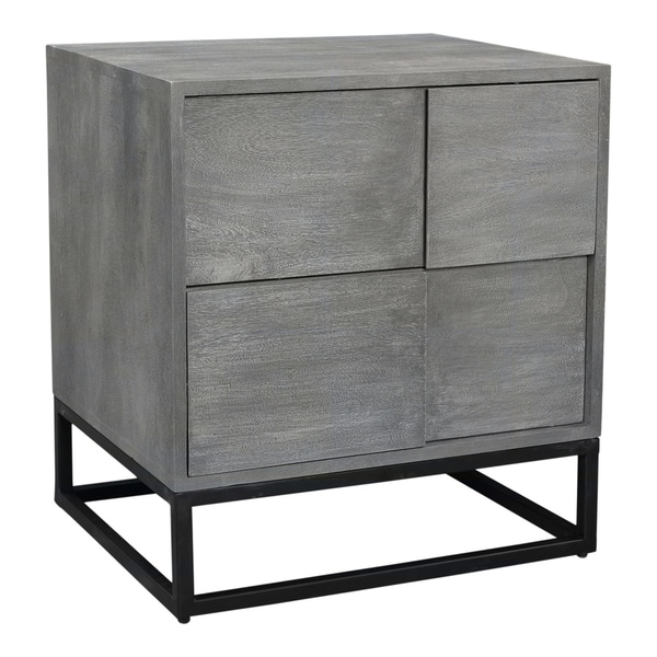 Aurelle Home Frita Grey Solid Acacia Modern 2-drawer Nightstand