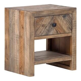Aurelle Home Brown Reclaimed Pine Storage Contemporary Nightstand