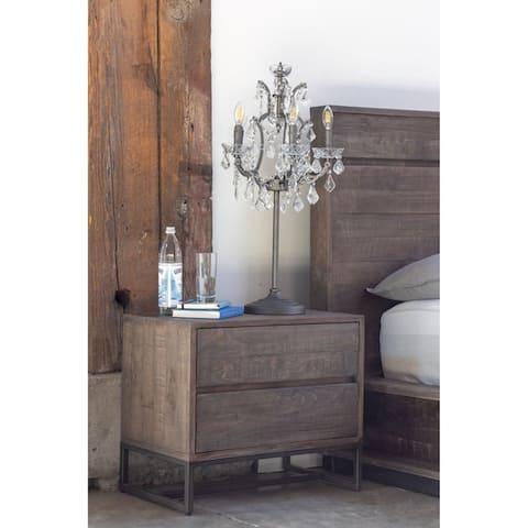 Aurelle Home Erica Brown Solid Wood Rustic Nightstand