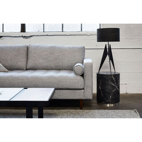 Aurelle Home Black Marbled Indoor and Outdoor Contemporary Stool