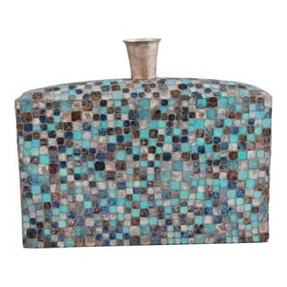 Aurelle Home Sky Blue Low Bottlenecked Mosaiced Glass Vase